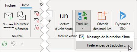 Sélectionnez Traduire les préférences