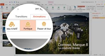 Capture d'écran affichant l'onglet Animations avec l'animation Portique 3D sélectionnée dans PowerPoint.