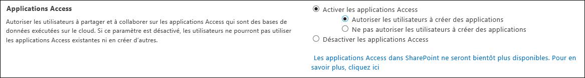 Capture d'écran des paramètres de l'application Access dans la page du Centre d'administration SharePoint