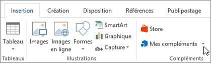 Capture d'écran d'une section de l'onglet Insertion dans le ruban de Word avec un curseur en pointant sur Mes compléments sélectionnez Mes compléments pour accéder à des compléments de Word.
