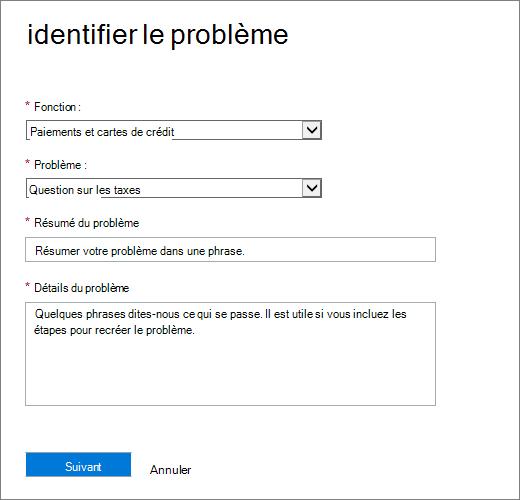 L'identité de la page le problème dans le formulaire de demande de Office 365 Admin Center Service.