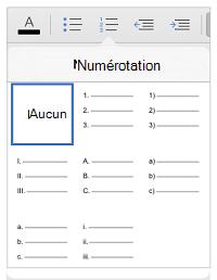 Les styles de numérotation