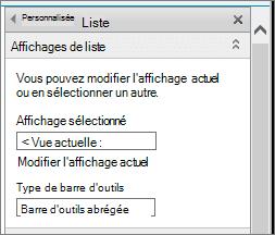 Affichage de liste modifier les propriétés, section Affichages liste