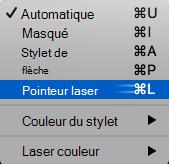 Choisissez pointeur laser dans le menu contextuel