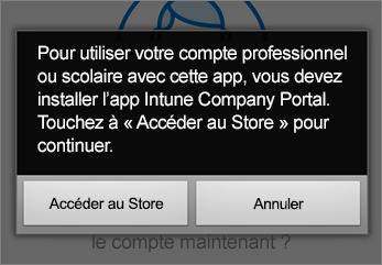 Appuyez sur Accéder au magasin pour obtenir l'application Portail d'entreprise Intune.