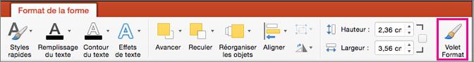 PowerPoint pour Mac - Onglet Format de la forme