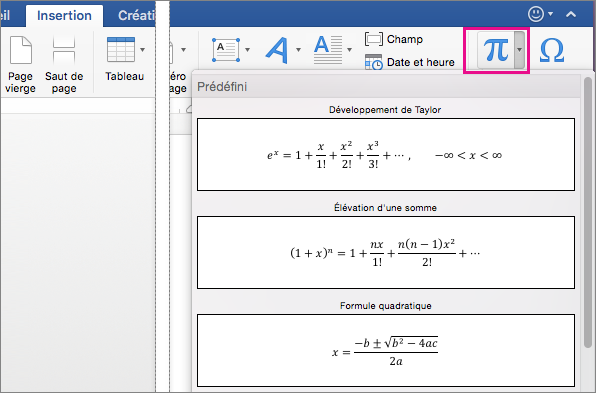 Dans l'onglet Insertion, le bouton Équation est mis en évidence