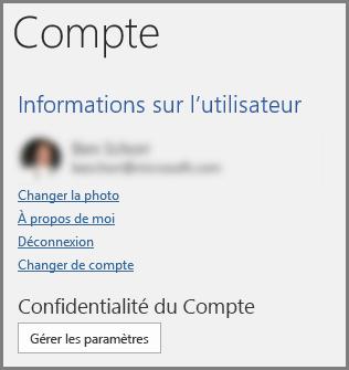 Le volet Compte affichant le bouton Confidentialité du Compte, Gérer les Paramètres