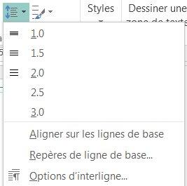 Capture d'écran du changement de l'interligne dans Publisher