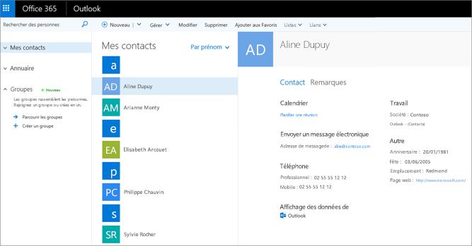 Une fois vos contacts importés, ils ressemblent à ceci dans Outlook sur le web.