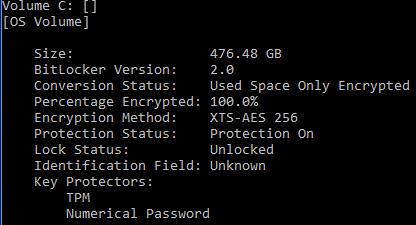 Figure 1 exemple de sortie d'un volume de système d'exploitation protégé par RecoveryPassword protecteur et protecteur de module de plateforme sécurisée