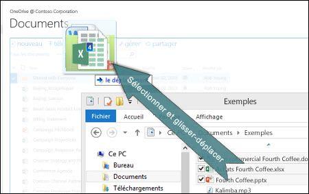 Glisser-déplacer des fichiers vers OneDrive