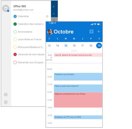 Écrans côte à côte: liste de calendriers et affichage Jour avec plusieurs calendriers affichés