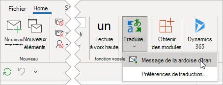 Sélectionnez Traduire le message
