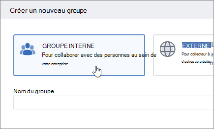 Capture d'écran illustrant la créer un écran de groupe dans Yammer avec interne groupe sélectionné.