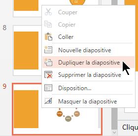 Cliquez avec le bouton droit sur une diapositive, puis sélectionnez Dupliquer la diapositive