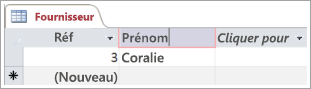 Partie d'un écran montrant la table Fournisseur avec deux lignes incluant une référence