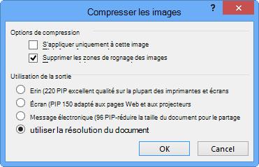 Options de compression d'images