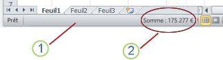 Barre d'état d'Excel