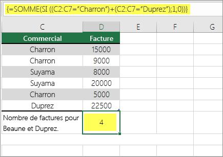 Exemple1: Fonctions SOMME et SI imbriquées dans une formule