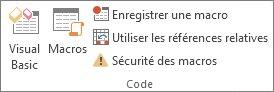 Groupe code de l'onglet Développeur dans Excel