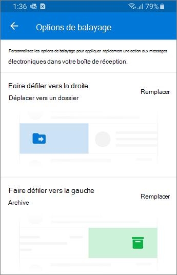 Définir les options de balayage dans Outlook Mobile
