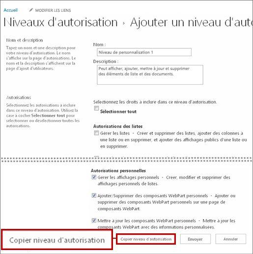 Bouton Copier un niveau d'autorisation.