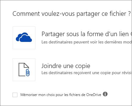 Comment voulez-vous partager ce fichier?