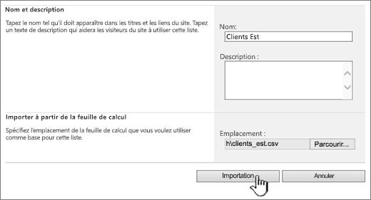 Boîte de dialogue Créer une feuille de calcul importée avec l'option Importer sélectionnée