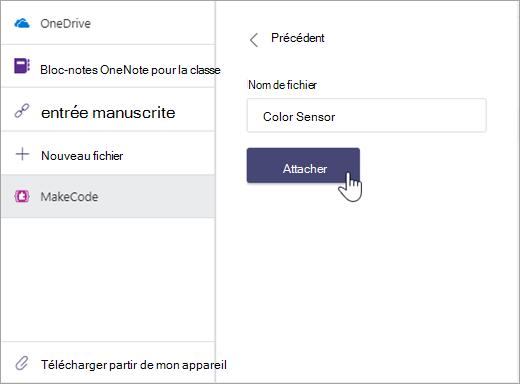Boîte de dialogue pour dénommer un fichier MakeCode et le joindre à un devoir Microsoft Teams