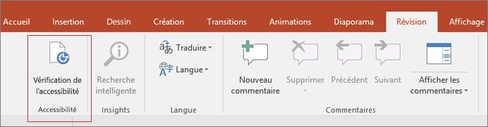 Capture d'écran de l'interface utilisateur de Word affichant l'option Révision > Vérifier l'accessibilité encadrée en rouge.
