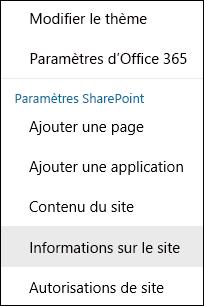 Capture d'écran montrant l'option de menu Informations sur le site dans SharePoint.