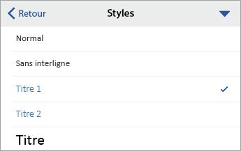 Commande Styles, avec l'option Titre1 sélectionnée