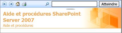 En-tête du volet de l'aide de SharePoint 2007