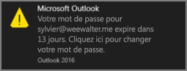Image de la notification que reçoit l'utilisateur lorsque son mot de passe est sur le point d'expirer.