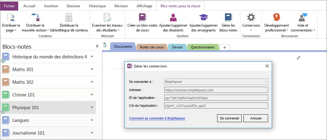 Capture d'écran de la boîte de dialogue Connexions du complément bloc-notes de cours OneNote avec la stratégie de groupe activée.