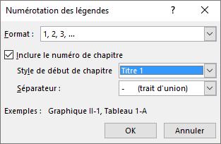 Utilisez la boîte de dialogue Numérotation des légendes pour ajouter des numéros de chapitre aux légendes.