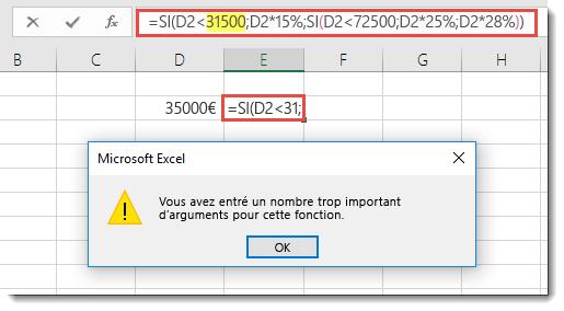 Message Excel généré lors de l'ajout d'une virgule à une valeur