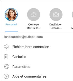 Capture d'écran illustrant un changement de compte dans l'application OneDrive sur iOS