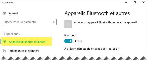 Vérifiez que l'option Appareils Bluetooth et autres est sélectionnée à gauche de l'écran