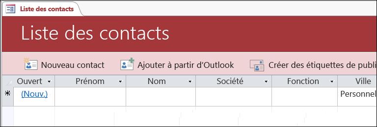 Formulaire Liste des contacts dans le modèle de base de données Contacts Access