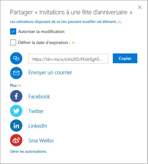 Toutes les options de partage dans OneDrive