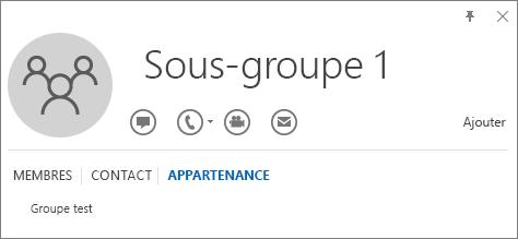 Capture d'écran de l'onglet Appartenance de la carte de visite Outlook pour le groupe nommé Sous-groupe1, montrant que celui-ci est membre du groupe nommé Groupe Test.