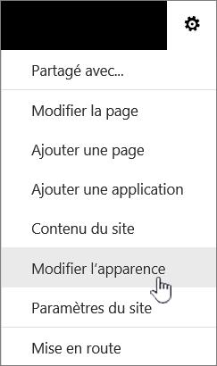 Menu paramètres avec l'option Modifier l'apparence mis en surbrillance