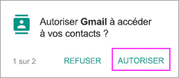 Autoriser les contacts