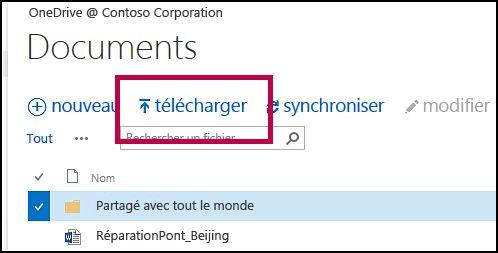Bouton de téléchargement de la barre de commandes rapides dans OneDrive