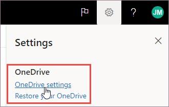 Sélectionner OneDrive paramètres