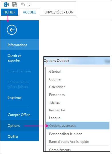 Fichier > Options > Options avancées.