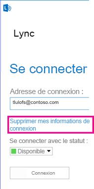 Fenêtre de connexion à Lync avec bouton de suppression des informations de connexion en surbrillance