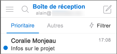 Apparence d'Outlook sur un iPhone.